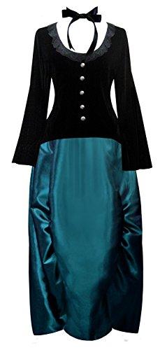 Victorian Valentine Steampunk Civil War Gothic Women's Top & Skirt (2X, Turquoise) ()