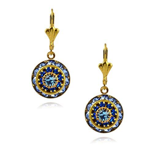 Leverback azul Pendientes ronda Chapados cristal con oro cristal Victoria Gota en qtPaFRngwx