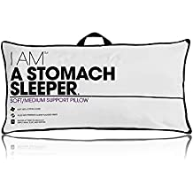 eLuxury I AM Low Density Stomach Sleeper Pillow, King Size - Holds Shape Through Never Flat Fibers - 233-Thread Count Pillow