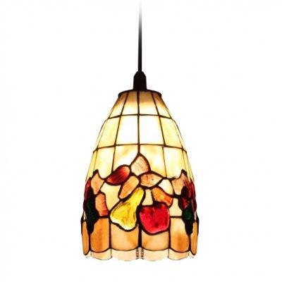 Hua Fruit Pattern Shell Bell Shade One Light Tiffany Mini