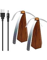 Vliegventilator Voor Tafels, Draagbare Zachte Kunststof 3-bladige Tafelvliegventilator Houd Vliegen Weg Van Uw Eten Geniet Van De Stille Tijd Zonder Onderbreking (2 Stuks) (houtnerfverf)
