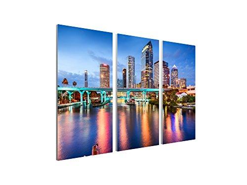 Pingo World 0817QILMTYA Tampa Downtown Skyline Panoramic Gallery Wrapped Canvas Wall Art Triptych 48