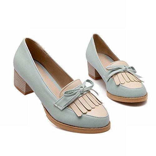 Show Shine Womens Fashion Sweet Bows Tassels Chunky Heel Shoes Light Blue ZUkdj1PVI