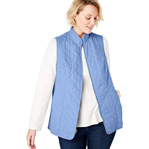 Woman Within Women's Plus Size Zip-Front Quilted Vest - French Blue, M ()