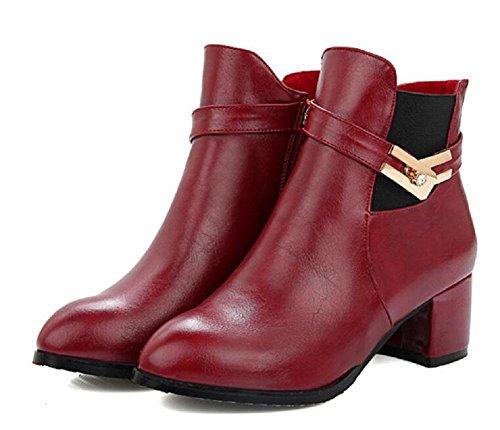 Otoño y el invierno botas con low - botas de tacón botas de ocio Martin red