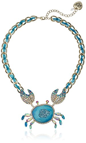 Couture Jewelry Necklace - Betsey Johnson Women's Crabby Couture Blue Crab Pendant Necklace, One Size