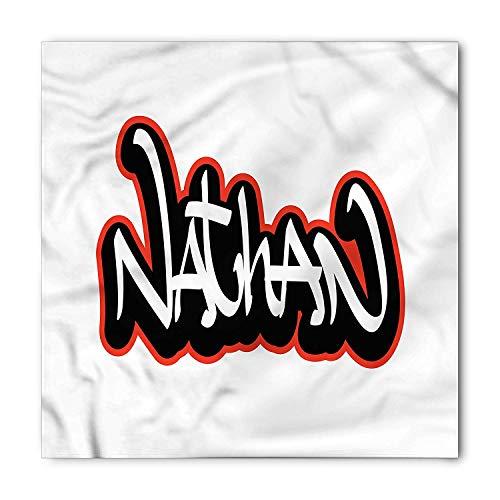 Nathan Bandana, Boys Name Graffito Art, Unisex Head and Neck Tie,39.339.3inch
