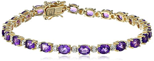 18k Yellow Gold Plated Sterling Silver Genuine African Amethyst Oval Cut 5x4mm and Diamond Accent Tennis Bracelet, 7.25