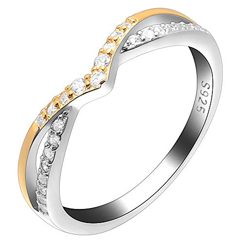 (Ginger Lyne Collection Chiara Two Tone Gold Over Sterling Silver V Shape CZ Anniversary Wedding Bridal Band Ring)