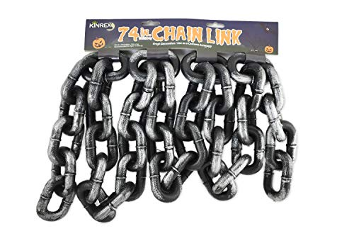 KINREX Halloween Chain Link - Halloween Costume Accessory Decoration - Grey and Black - Made of Plastic - Measures 74 Inches -