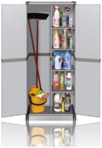 Armarios para exteriores, con puerta batiente, escobero de exterior de PVC: Amazon.es: Hogar