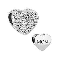 CharmSStory mamá madre encanto corazón te amo simulado bolas de cristal sintético de piedra natal para pulseras