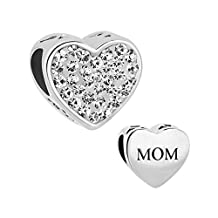 I Love Mom Heart Jewelry Charm Clear Birthstone Crystal New Bead For Bracelets
