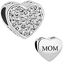 CharmSStory Mom Mother Charm Heart I Love You Simulated Birthstone Synthetic Crystal Beads For Bracelets