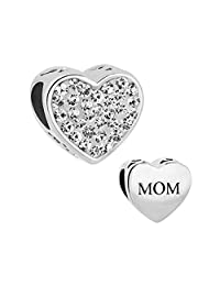 Sterling Silver Heart Mom I Love You Jewelry Charms New Clear Birthstone Crystal Beads Charm Pandora Compatible