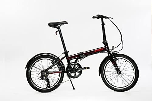 EuroMini ZiZZO Via 27lb Folding Bike-Lightweight Aluminum Frame Genuine Shimano 7-Speed 20 Folding Bike with Fenders