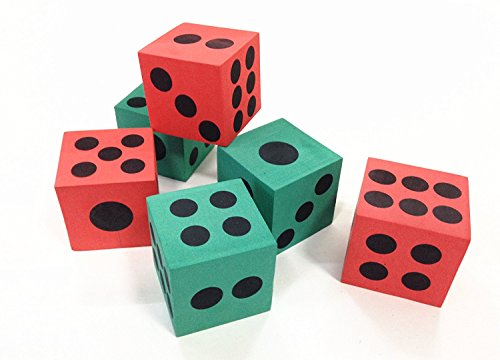 12 Pk Dice | Big Foam Green and Red Playing Dices | 1 Dozen Pack | Board Games, Party Favor, Math Teaching, Family Game, | Dazzling Toys - Foam Playing Dice