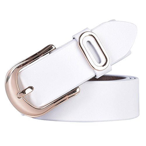 Talleffort Women's Jeans Genuine Cowhide Leather Belts (White) ()