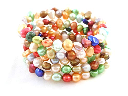 (The Island Pearl Mixed Bright Color Genuine Freshwater Pearl Bracelet)