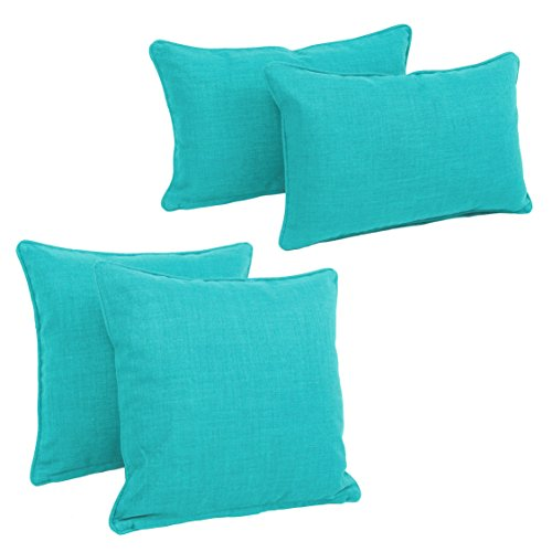 le-Corded Solid Outdoor Spun Polyester Throw Pillows with Inserts Set, Set of 4, Aqua Blue ()