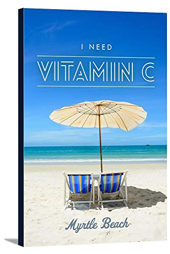 Myrtle Beach, South Carolina - I Need Vitamin C - Beach Chairs and Umbrella (24x36 Gallery Wrapped Stretched Canvas) (Beach Umbrella Beach Sc Myrtle)