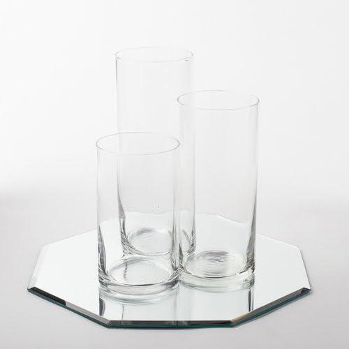 Eastland Octagon Mirror 12 and Cylinder Vases Centerpiece. 48 Piece Set