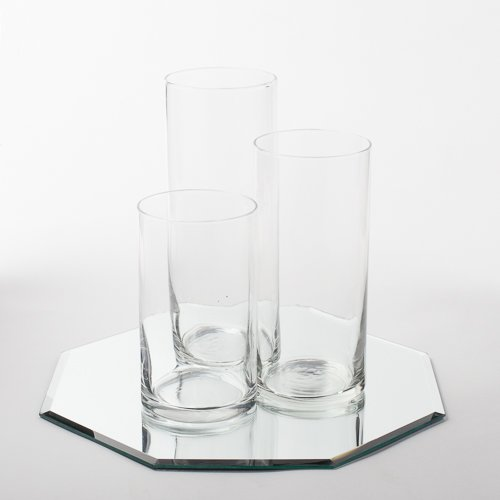 Eastland Octagon Mirror 12'' and Cylinder Vases Centerpiece. 48 Piece Set by Eastland