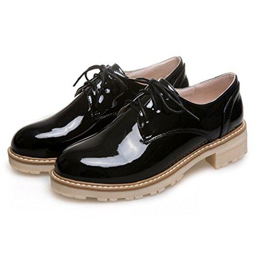 Hoxekle Damesmode Rond Tenen Oxford Schoenen / Geperforeerd / Britse Stijl / Plateau / Vintage Oxford Schoenen Zwart