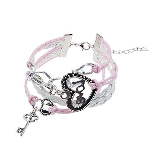 Sankuwen Love Heart Key Lock Bracelet Pink