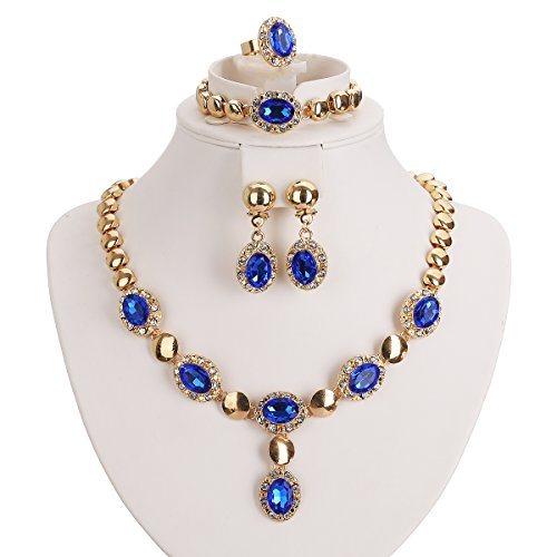 Moochi Gold Plated Blue Zircon Stones Embedded Brass Necklace Earrings Jewelry Set