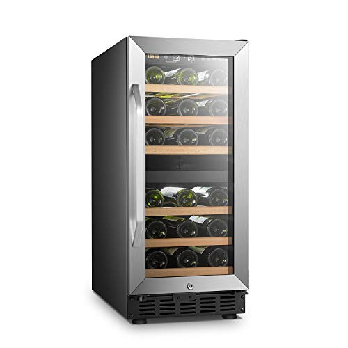 LANBO Dual Zone Wine Refrigerator, 28 Bottles Built-in Compressor Wine Cellar Cooler, Tempered Glass Door and Safety Lock (Door Glass In Built Refrigerator)