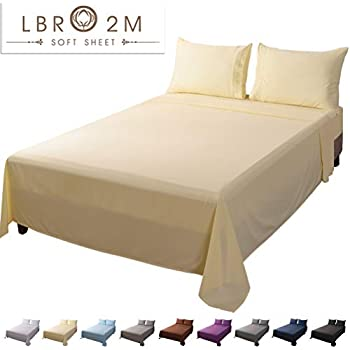 LBRO2M Bed Sheet Set Twin Size 16 Inches Deep Pocket 1800 Thread Count 100% Microfiber Sheet,Bedding Super Soft Comforterble Hypoallergenic Breathable,Resistant Fade Wrinkle Cool Warm,3 Piece (Ivory)