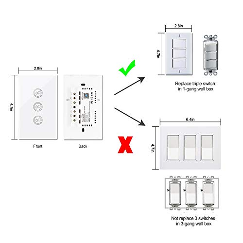 Smart Wifi Light Switches Touch Wall Switch Panel Replace 2 Switches in 1 Gang Wall Box Combination Smart Light Switch Compatible with Alexa and Work with Google Home and IFTTT Smartphone App Contro by Youngzuth (Image #1)