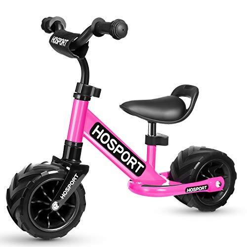 HOSPORT Toddler Balance Bike for Ages 18 Months to 3.5 Years Kids No Pedal Bicycle with Carbon Steel Frame, Adjustable Handlebar and Seat - Safe Riding for First Birthday Gift (Pink)