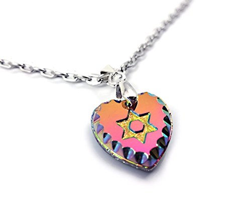 (Little Gem Girl Rainbow Crystal Star David Magen Heart Engraved Glass Pendant 18 inch Silver Chain)