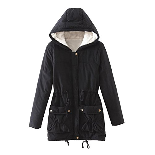 Black Jacket Slim Fur Coat Women Long Hoodies Fuibo Warm Outwear Winter qvRwxS7P