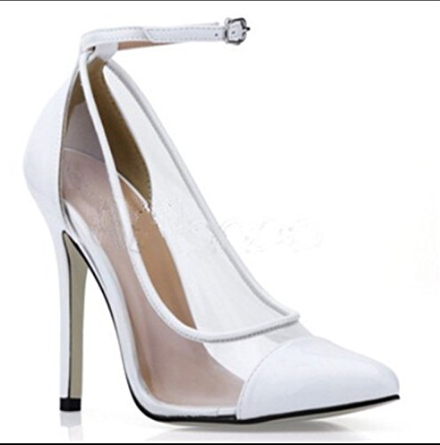 Toe Cm Beautiful Cloth Prom 11 Stitching White VIVIOO High Net Pointed Heeled Sandals Pumps 7 Leather Shoes Stylish Shoes vZnn18WF