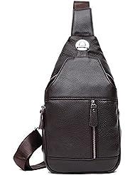 Sling Bag Leather Chest Bag Crossbody Shoulder Business Backpack Outdoor Daypack
