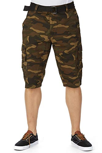 (Men's Cotton Breathable Tactical Cargo Shorts Belted 12.5