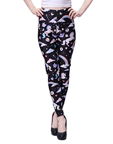 HDE Women's Funky Digital Print Design Graphic Stretch Footless Fashion Leggings (Unicorns and Rainbows, ()