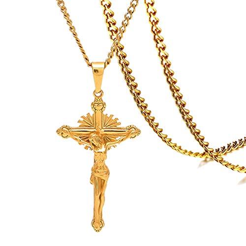(Fusamk Hip Hop Plated 18K Gold Stainless Steel Christ Cross Pendant)