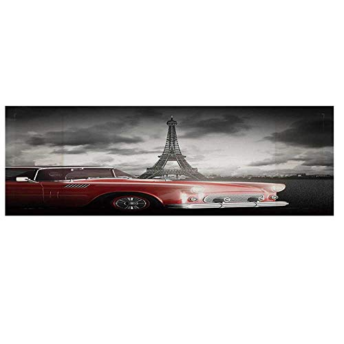 (Paris Decor Microwave Oven Cover with 2 Storage Bag,Fancy Vintage Car with Tour Eiffel in Cold Cloudy Day Romantic Theme Retro Style Art Photo Cover for Kitchen,36