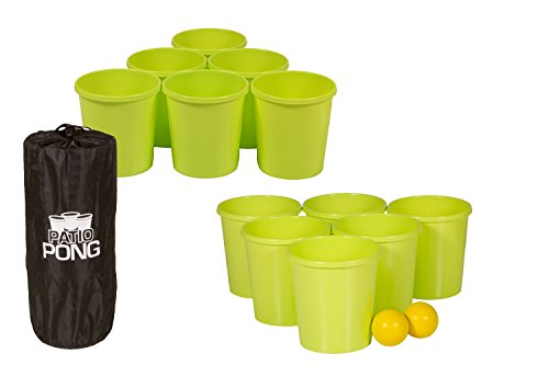 Get Out! Patio Pong - Giant Yard Beer Pong Set for Outdoor Fun - 12 Buckets, 2 Balls, 1 Drawstring Carrying -