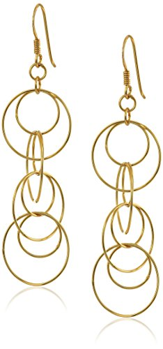 Sterling Silver with Yellow Gold Flashed Circle Link Drop Earrings