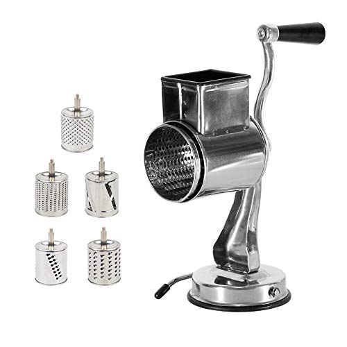 Stainless Steel Cheese Grater Rotary Chopper - MASTRE FENG 5 Blades Included Kitchen Vegetable Shredder Salad Slicer, Multi-Use Hand Cutter Graters for Nut, Potato