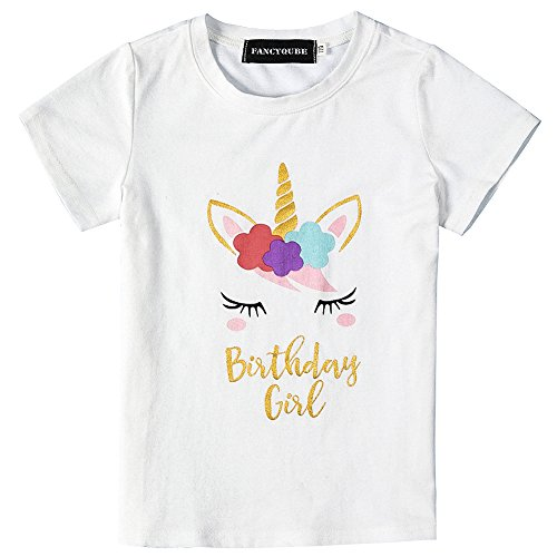 Fancyqube Kid's Personalized Unicorn Print Short Sleeve Birthday T Shirt White, 140
