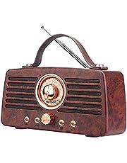 YFYUNDING Retro Wood Grain Portable Radio FM Supports Bluetooth to Play Music and Answer Calls USB TF AUX Radio