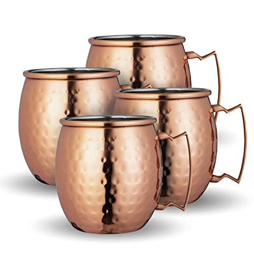 Chef's Star Set of 4 Handmade Hammered Copper Moscow Mule Mug - 100% Pure Copper with Stainless Steel Handle - Hammered Moscow Mule Mug Cup 16OZ