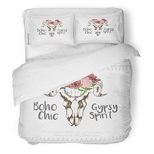 Emvency Decor Duvet Cover Set Full/Queen Size Boho Chick Goat Skull with Flower Wreath Traditional Bohemian for Party 3 Piece Brushed Microfiber Fabric Print Bedding Set Cover
