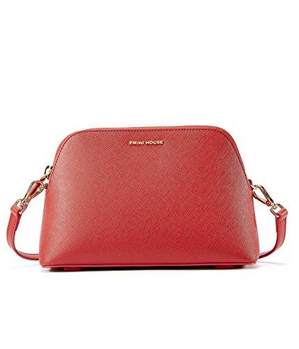 EMINI HOUSE Simple Bowler Bag With Zipper Closure Women Bag-Red (Bag Small Bowler)